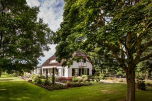 landelijk vormgegeven tuin die onderhoudsvriendelijk is van opzet door een goed tuinontwerp en tuinaanleg van de borders welke aansluiten op het grote gazon