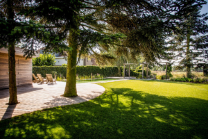 terras en zithoek voorzien van een natuur vijver voor een strakke tuin met een sfeervol karakter voorzien van vaste struiken en bomen omringt door een schitterend gazon